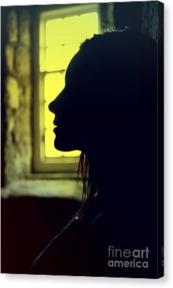 Young Woman Silhouetted Profile Canvas Print