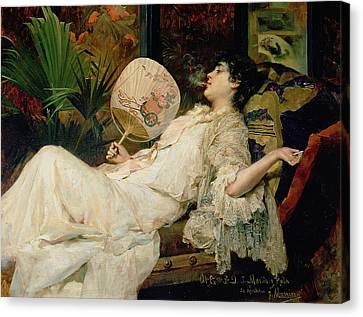Young Woman Smoking, 1894 Oil On Canvas Canvas Print by Francisco Masriera y Manovens