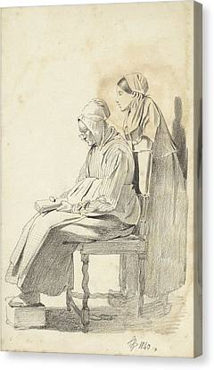 Loon Canvas Print - Young Woman Standing Behind A Seated Reading Old Woman Seen by Quint Lox