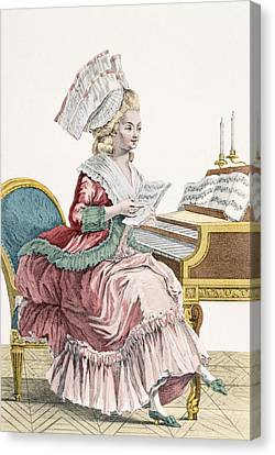 Young Woman Studying Music Canvas Print by Pierre Thomas Le Clerc