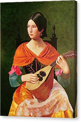Lullaby Canvas Print - Young Woman With A Mandolin by Vekoslav Karas