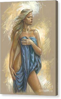 Blonde Canvas Print - Young Woman With Blue Drape by Zorina Baldescu
