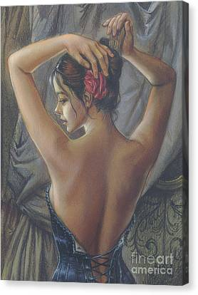 Young Woman With Luth Crop Canvas Print