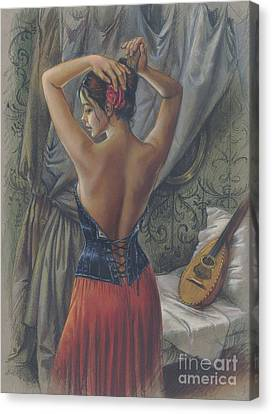 Young Woman With Luth Canvas Print by Zorina Baldescu