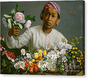 Young Woman With Peonies Canvas Print