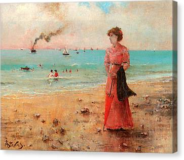 Young Woman With Red Umbrella Canvas Print by Alfred Stevens