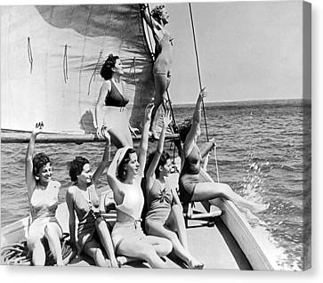 Young Women On A Sailboat. Canvas Print