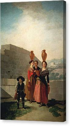 Old Pitcher Canvas Print - Young Women With Pitchers by Francisco Goya