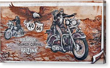 Young's Corral In Holbrook Az On Route 66 - The Mother Road Canvas Print by Christine Till