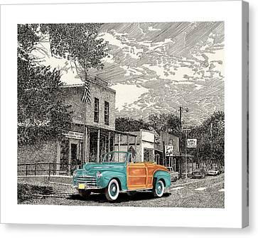 1946 Ford Sports Man Convertible  In Hillsboro N M  Canvas Print by Jack Pumphrey