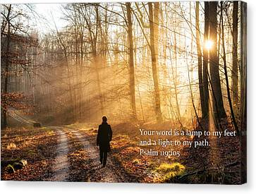 Your Word Is A Light To My Path Bible Verse Quote Canvas Print by Matthias Hauser