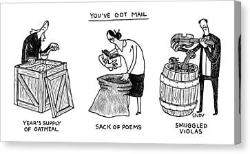 You've Got Mail -- A Triptych Of Strange Packages Canvas Print by Tom Chitty