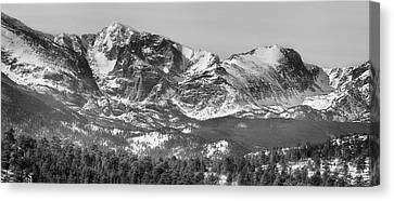Ypsilon Mountain And Fairchild Mountain Panorama Rmnp Bw Canvas Print by James BO  Insogna