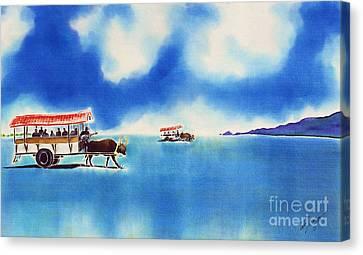 Yubu Island-water Buffalo Taxi  Canvas Print by Hisayo Ohta