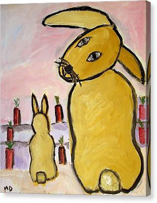 Canvas Print featuring the painting Yummy Bunny by Michael Dohnalek