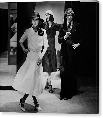 Full Skirt Canvas Print - Yves Saint Lauren With Two Of His Assistants by Deborah Turbeville