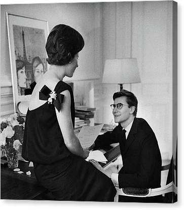 Yves St. Laurent With His Mother Canvas Print