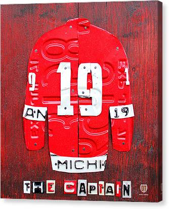 Yzerman The Captain Red Wings Hockey Jersey License Plate Art Canvas Print by Design Turnpike