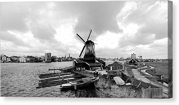 Zaandijk Canvas Print - Zaanse Schans Pano In Black And White by Jenny Hudson