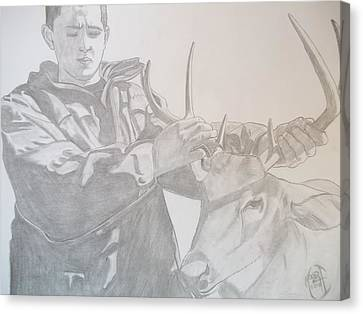 Canvas Print featuring the drawing Zach's First Deer by Justin Moore