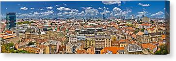 Zagreb Lower Town Colorful Panoramic View Canvas Print