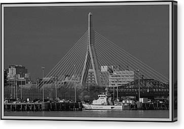 Canvas Print featuring the photograph Zakim Bridge In Bw by Caroline Stella