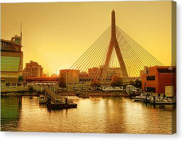Zakim Bridge Sunset Canvas Print by Nikolyn McDonald