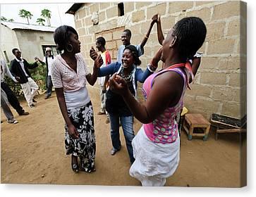 Troupe Canvas Print - Zambian Theatre Group by Matthew Oldfield