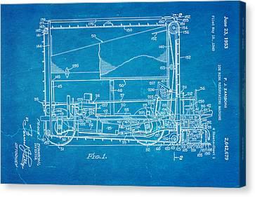 Zamboni Ice Rink Resurfacing Patent Art 1953 Blueprint Canvas Print by Ian Monk