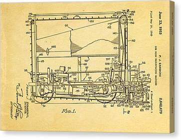 Zamboni Ice Rink Resurfacing Patent Art 1953 Canvas Print by Ian Monk