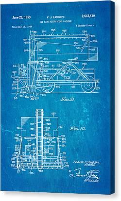 Zamboni Ice Rink Resurfacing Patent Art 2 1953 Blueprint Canvas Print by Ian Monk