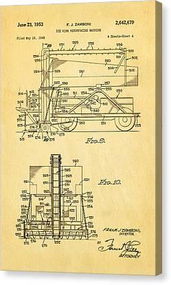 Zamboni Ice Rink Resurfacing Patent Art 2 1953  Canvas Print by Ian Monk