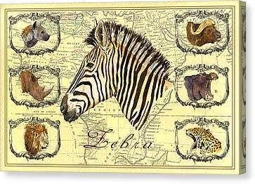 Zebra African Map Heads Canvas Print by Juan  Bosco
