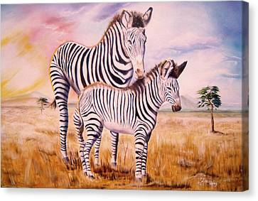 Canvas Print featuring the painting Zebra And Foal by Thomas J Herring
