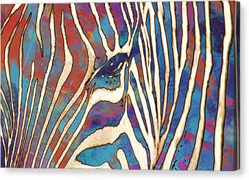 Zebra Art - 1 Stylised Drawing Art Poster Canvas Print by Kim Wang