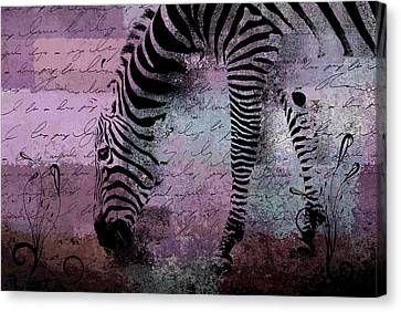 Zebra Art - Sc01 Canvas Print by Variance Collections
