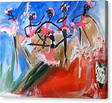 Zebra Ballet Canvas Print by Judith Desrosiers