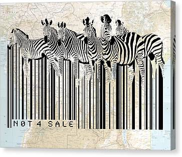 Zebra Barcode Canvas Print by Sassan Filsoof