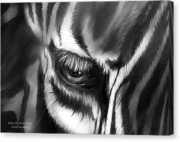 Zebra Black And White Canvas Print