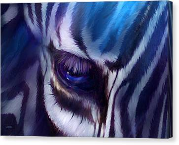 Zebra Blue Canvas Print by Carol Cavalaris