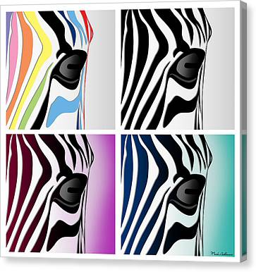 Pittie Canvas Print - Zebra Collage   by Mark Ashkenazi