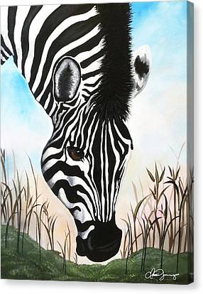 Zebra Canvas Print by Dani Abbott