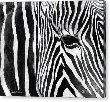 Zebra Eye Canvas Print by Hailey E Herrera
