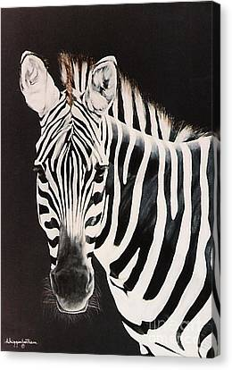 Canvas Print featuring the painting Zebra Facing Left by DiDi Higginbotham