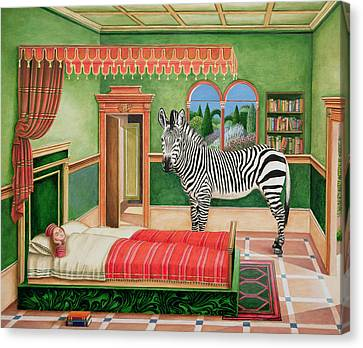 Zebra In A Bedroom, 1996 Canvas Print by Anthony Southcombe