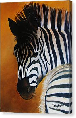 Zebra Canvas Print by Jean Yves Crispo