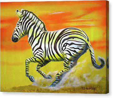 Canvas Print featuring the painting Zebra Kicking Up Dust by Thomas J Herring