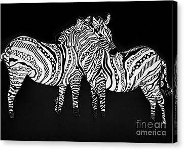 Zebra Love 1 Canvas Print by Karen Larter