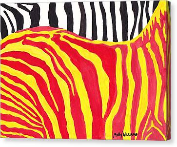Zebra Canvas Print by Molly Williams