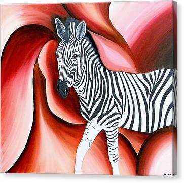 Zebra - Oil Painting Canvas Print by Rejeena Niaz